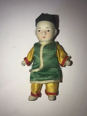 "Vintage Bisque 4"" Boy Doll Miniature Jointed Made In Japan"