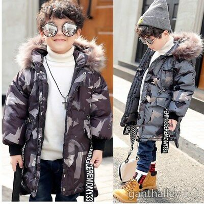 4f56e8d1a12 Boys Kids Camouflage Winter Cotton Padded Long Parka Jacket Fur Hooded Coat  Sale