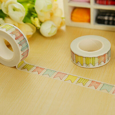 1X Colorful Flags Washi Tape DIY Paper Sticky Tools Adhesive Sticker Decor、GDWK