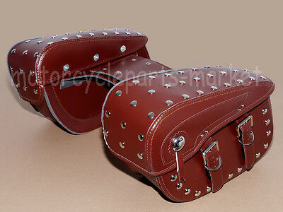 Brown Motorcycle Rivets Tool Tail Bags Travel Luggage Saddle Bag Leather Bobber