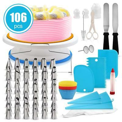 106pcs Cake Decorating kit Turntable Icing nozzles Spatula Bags Scraper Tool Set