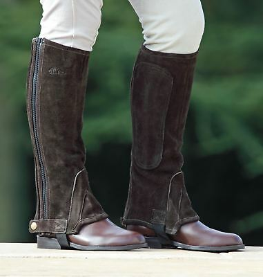 Childs Suede Half Chaps Horse Riding Clothing Leg Trouser Protection [Brown] [M]