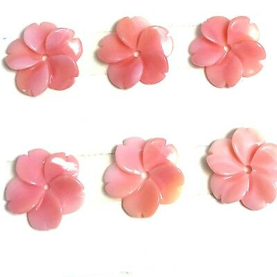 2 PC Natural Pink Queen Conch Shell Flower 12mm- New DIY Bead Design Wholesale