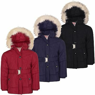 Girls Padded Cuffs Belted Jacket Winter Hood Coat Zip Snap Fastening 5-14 Years