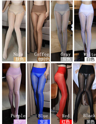 Plus Size High Shiny Glossy Sheer Stockings Club Dance Highs Tights Strumpfhose