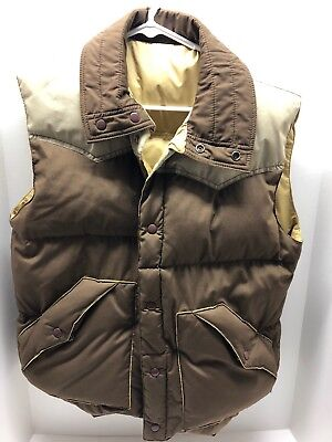 Vintage 70s Aventura Reversible Brown Tan Puffy Down Insulated Vest Size M