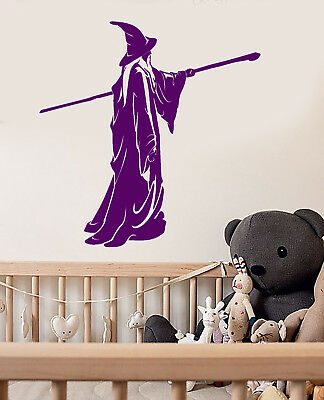 Vinyl Wall Decal Sorcerer Fantasy Fairytale Magic Staff Witch Stickers (3032ig)