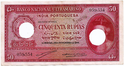 Portuguese India Xf Sign: A4+P2 Rs 50 Cinquenta Rupias Note British 29-11-1945