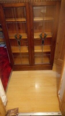 Vintage Wooden Bookcase With Glass Doors And Key