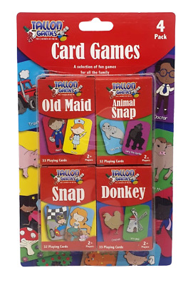 Children's Playing Cards Pack of 4 Games Old Maid Animal Snap Donkey & Snap New