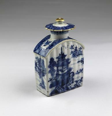 Rare Antique 18thC Chinese Qing Qianlong Blue & White Fluted Porcelain Tea Caddy