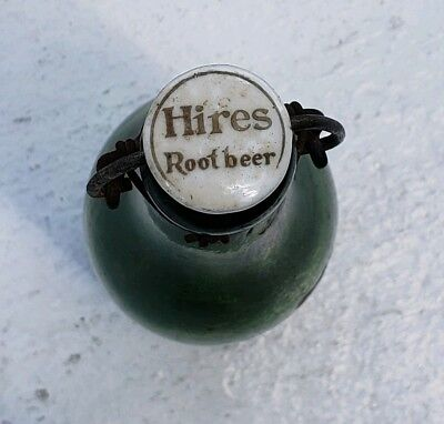 Rare Green Hires Root Beer Bottle With Original Cap and closure. Hard to find
