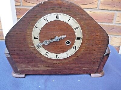 Wooden (Oak) Mantel Clock for Restoration or Parts --no key