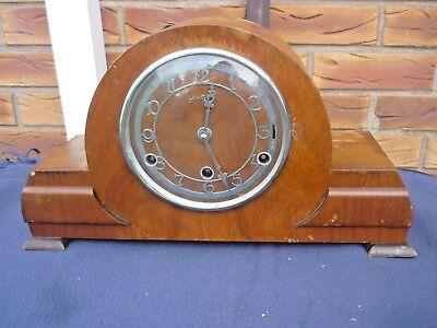 Bentima (French) Wooden Mantel Clock for Restoration/Parts - with key