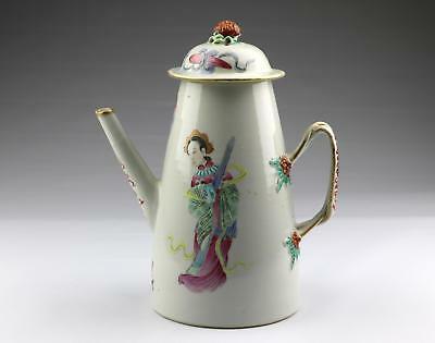 Large Antique 19C Chinese Qing Jiaqing Famille Rose Canton Porcelain Coffee Pot