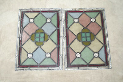 Matching pair of vintage STAINED GLASS WINDOWS. 53cm x 37cm.