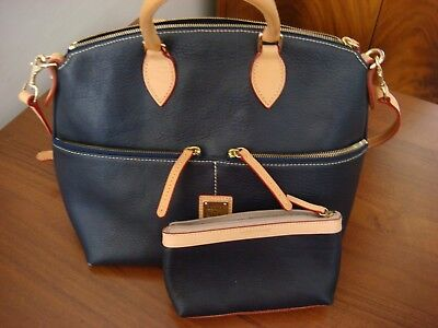 Dooney & Bourke Pebble Large Pocket Satchel with Coin Purse Navy Blue and Beige