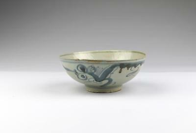 Antique 18/19C Chinese Qing Blue & White Minyao Dehua Porcelain Dragon Bowl #2