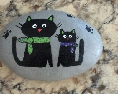 Hand painted rock stone art  - Two Cats