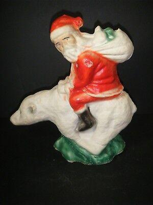 RARE PAPER MACHE SANTA RIDING A POLAR BEAR Great colors