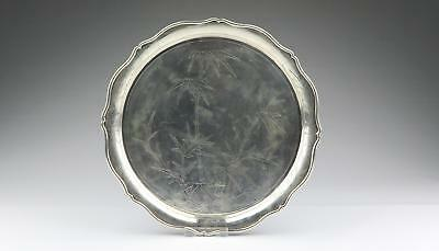Large 19/20thC Chinese Qing Hong Kong Tack Hing Silver Hallmarked Serving Tray