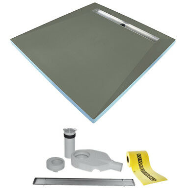 Tilefix wetroom tray. PROFESSIONAL 4S (4slopes) liner drain with viega trap.