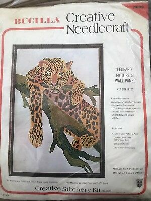 BN Large Vintage Creative Needlecraft Wall Panel Leopard Crewel Kit