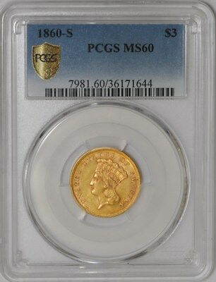 1860-S $3 Gold Indian #939193-4 MS60 Secure Plus PCGS
