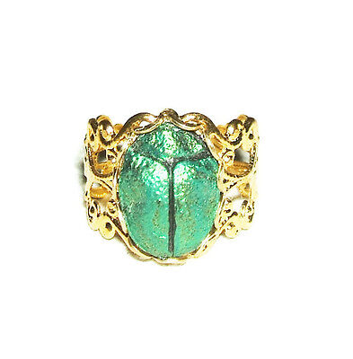 EGYPTIAN REVIVAL Ring SCARAB Metallic Green Beetle Victorian Adjustable Gold Plt