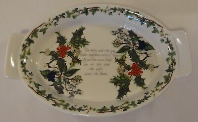 "Portmeirion The Holly & The Ivy Augratin 10.25"" Oval 2 Handled Baking Tray Dish"