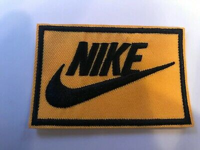 "Nike YELLOW  iron on PATCH -  patches new  Appx 3"" x 2"" Nice"