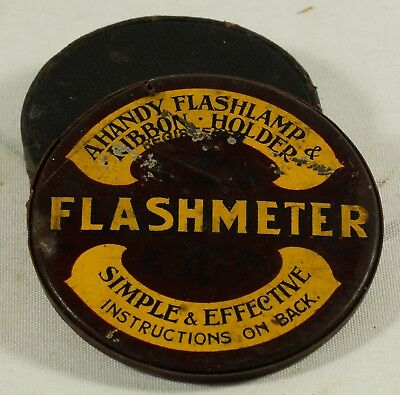Vintage Flashmeter Flashlamp Ribbon Holder + Early Push On Lens Cap.