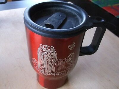 Silky Terrier-  Beautifully Hand Engraved Stainless Travel Mug by Ingrid