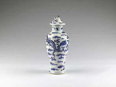 Antique 19thC Chinese Qing Kangxi Mark Blue & White Porcelain Dragon Vase & Lid