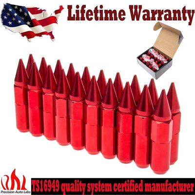 Red 20PC M12X1.5 Cap Spiked Extended Tuner 60mm Aluminum Wheels Rims Lug Nuts US