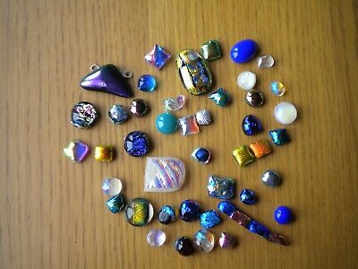 Dichoic/Art Glass mixed lot of wonkey 2nds tiny fused glass Cabochons and offcut