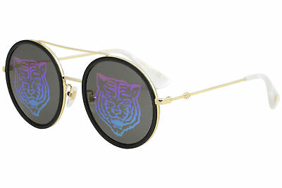 12d8f83554 Gucci Women s GG0061S GG 0061 S 014 Gold Tiger Fashion Round Sunglasses 56mm
