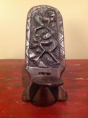 Hand Carved Wooden Miniature African Chair 2 Pieces