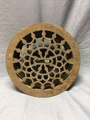 "Antique 8"" Cast Iron Round Floor Heat Grate Register Victorian Vtg 86-18C"