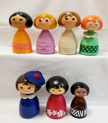 Lot of 7 Vintage Avon Small World Collectible Figurine Bottle Decanters