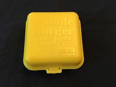 Vintage 1978 Fleer Yellow Bubble Burger Candy Container - Empty