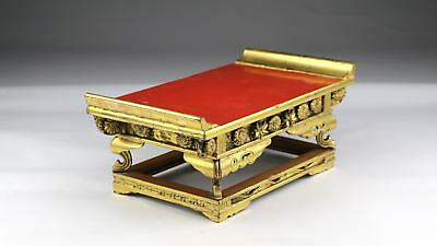 Rare 19/20thC Antique Burmese Mandalay Lacquered & Gilded Offering Altar Stand