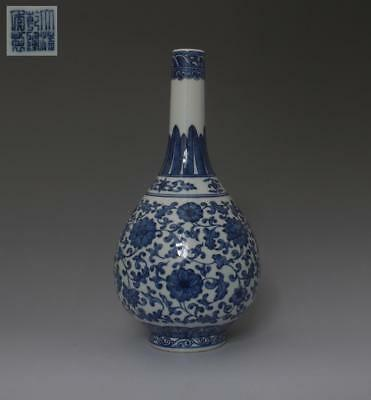 Very Rare Chinese Old Blue And White Porcelain Vase With Qianlong Marked (341)