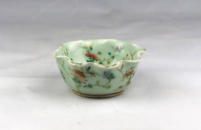 Antique 19thC Chinese Qing Tongzhi Mark Celadon Canton Porcelain Lotus Bowl