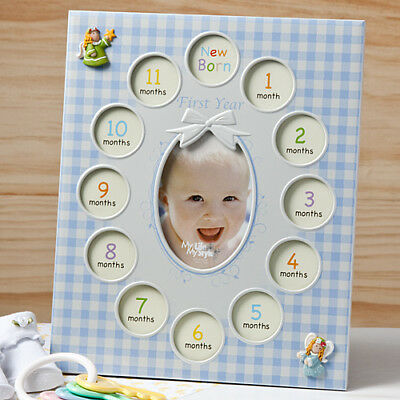 Baby Boys First Year Collage Frames In Blue My First Year New Christening Gift