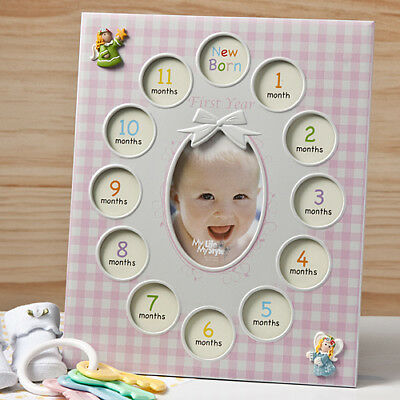 Baby Girls First Year Collage Frames In Pink My First Year New Christening Gift