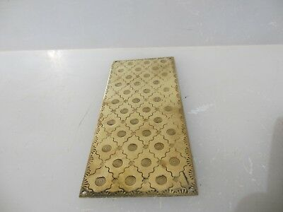 Victorian Brass Finger Plate Push Door Handle Etched Flower Floral Antique Old