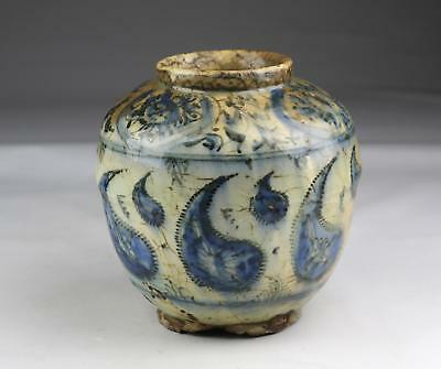 Rare Antique 16/17thC Safavid Islamic Persian Blue & White Fritware Ovoid Jar