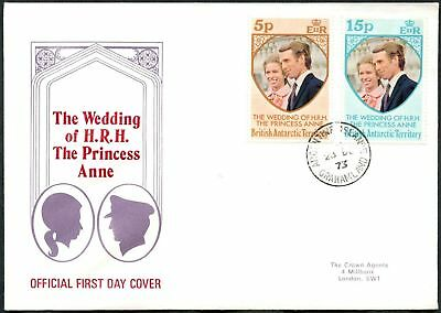 British Antarctic Territory 1973 Royal Wedding FDC First Day Cover #C48783