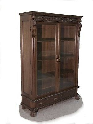 """Tall Carved Mahogany Bookcase / Display Glass Doors ..""""wow"""""""